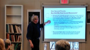 Don Nonini presents  research with colleague Dorothy Holland (not pictured) at Hickerson House.