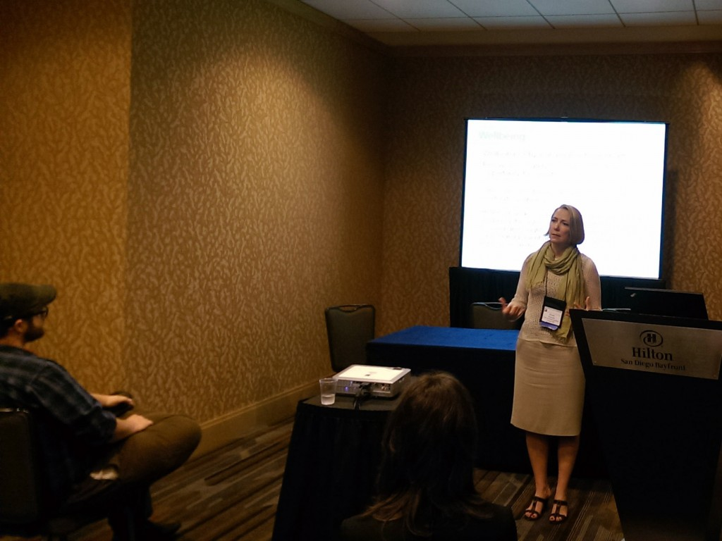 Kirstin Frescoln presenting her research at the Urban Affairs Association conference in San Diego.