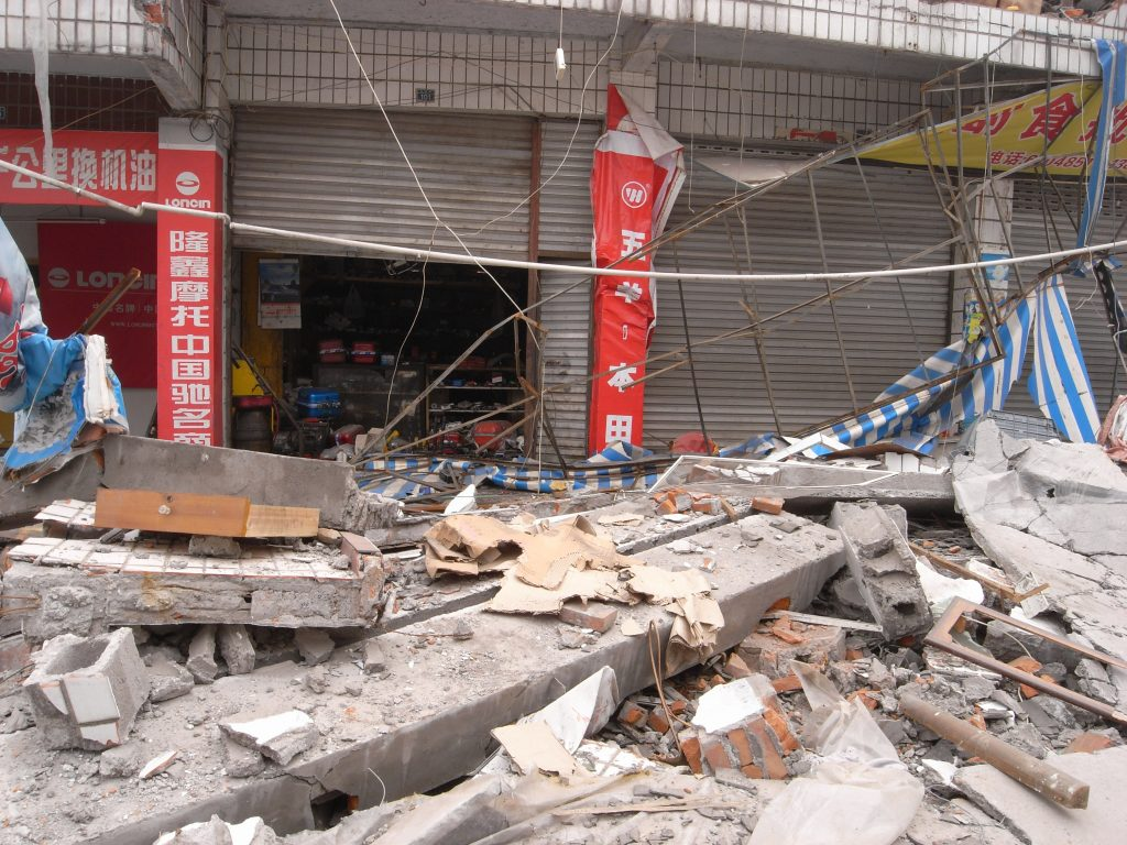 The severely devastated town of Jundao in Sichuan Province during the 2008 Wenchuan Earthquake. (Wikipedia photo)