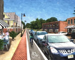 Washington Street, Houston, Mississippi: Streetscape rendering after implementing downtown, trail-oriented growth. Image Courtesy Brian Morton.