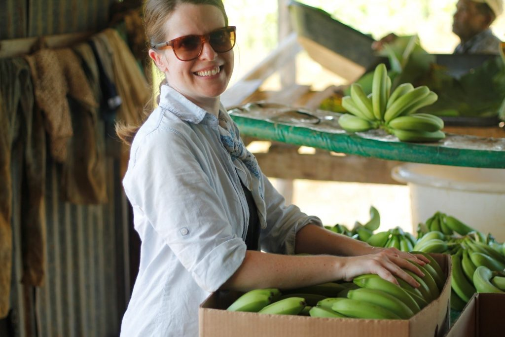 Samantha King helping to pack bananas in Dominica to be shipped to Antigua for sale. 2016. Photo: Lilian Marcellin.