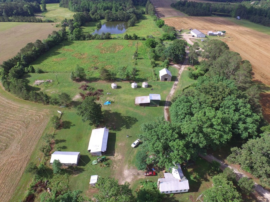 Aerial view of the Walnut Hill Farm. Photo: Triangle Land Conservancy