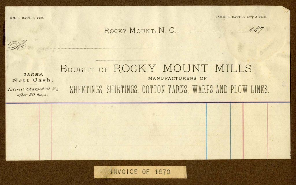 Rocky Mount Mills invoice from 1970.