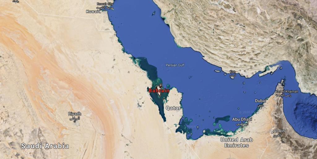 Bahrain's location on the Arabian peninsula